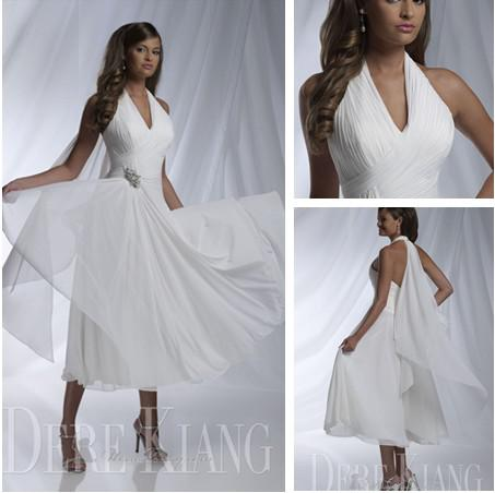 2015 Short Beach Wedding Gowns Ivory Sale Garden Sexy Bridal Dresses Halter Sleeveless A Line Pleat Tea Length Womens 2018 From Bobbirabbit