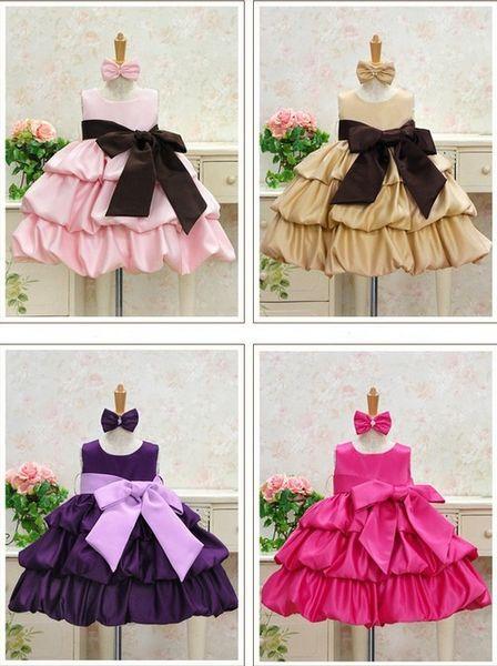 5PCS Summer Baby Girls High-grade Princess Sleeveless Layered Dresses Children Bowknot Dance Skirt - Wedding Party, Graduation,Photography