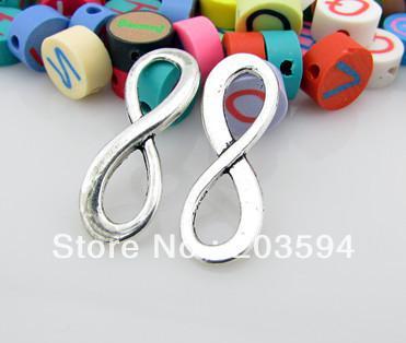 Toptan 50 Adet moda tibet gümüş dijital 8 infinity Burcu Charms bağlayıcı 8 * 23mm