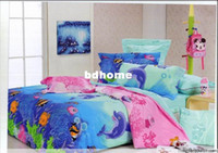 Wholesale Plain Dyed - Plain Dyed pattern dolphin bedding sets ,4pc bedding covers with size Queen  Full,High quality,EMS Free Shipping