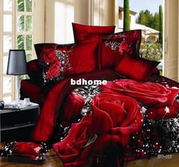Wholesale 3d Red Rose Bedding Sets - New design Red rose 3d printed oil painting bedding sets 100% cotton duvet cover bedclothes 3d sheets 4 piece set