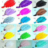 Wholesale Curly Feather Pads Wholesale - Curly Feather Pads Headbands Matching Sparking Rhinestone Nylon Elastic Hair Band Photography Props QueenBaby 20pcs lot