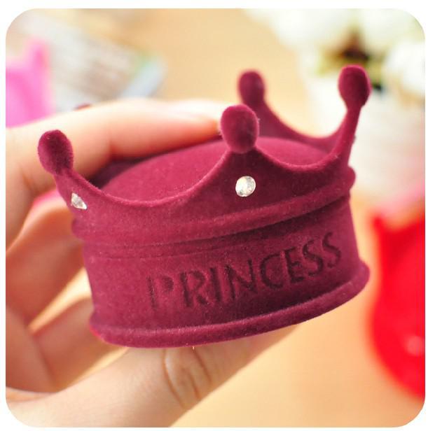 Caja del pendiente de la caja del anillo de la caja de joyería de la princesa de lujo de la corona de terciopelo