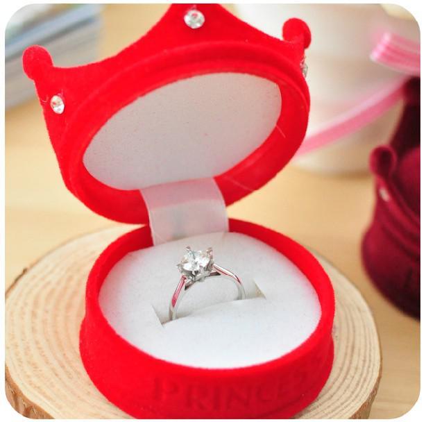 Fluwelen kroon prinses luxe sieraden doos ring box oorbel doos