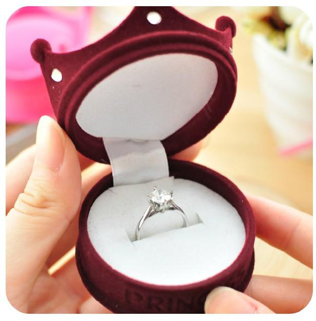 Velvet Crown Princess Luxury Jewelry Box Ring Box Earring box