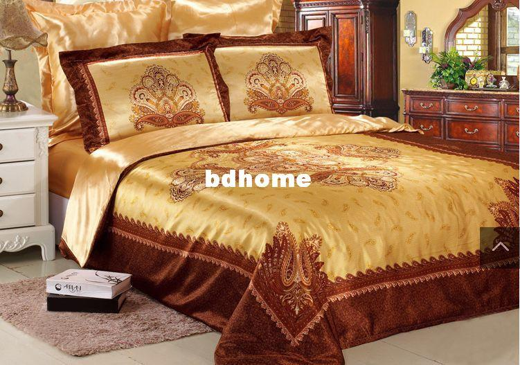 Gold Silk Bedding Set King Size New Arrival Duver Cover