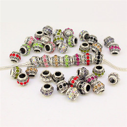 Wholesale Mixed Large Hole Beads - Free Shipping 50pcs Mixed Colors Rhinestone Tibetan Silver Cylindrical European Spacer Large Hole Charm Beads Fit Jewelry Bracelets 010260