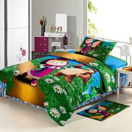 Wholesale Hand Wash Sale - Hot sale-Cartoon Children's bedding 100% cotton cartoon masha and bear Snoopy Winnie Mickey price 3pcs set