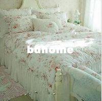 funda nórdica floral de algodón al por mayor-Vintage Rose roja princesa juego de cama, niñas de algodón floral Funda nórdica rey reina gemelo rural edredón conjunto 4 unids envío gratis