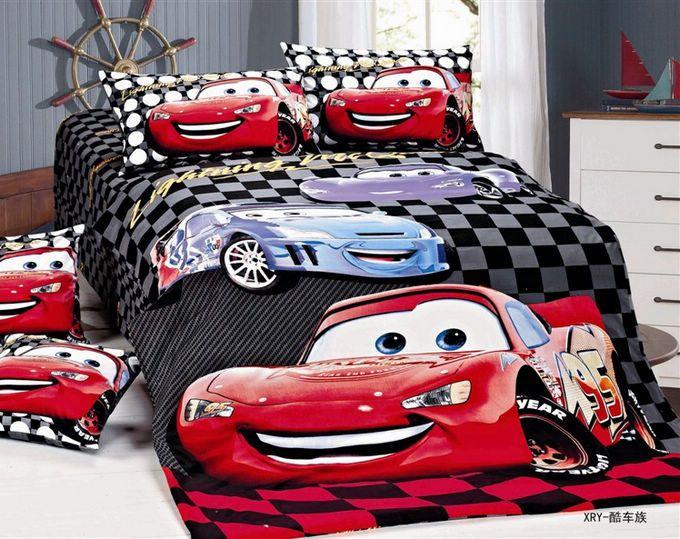 Plaid Red Car Kid Boys Duvet Cover Sheet Pillowslips Sets