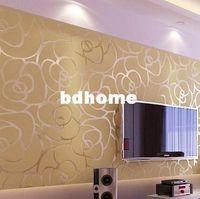 cuarto de papel tapiz único al por mayor-Papel pintado de flocado moderno Papel de pared único Revestimiento de rollo para sala de estar Habitación de cama fondo de TV Plata Oro Rosa Negro, 6 colores
