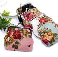 Wholesale Small Gift Cards Wholesale - Vintage flower coin purse canvas key holder wallet hasp small gifts bag clutch handbag ,12 pcs lot