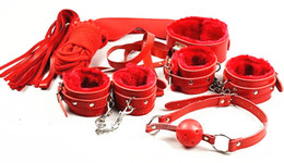 Wholesale Sex Toy Foot - BDSM 7 in 1 Sex Bondage Kit Ball Gags Collar Foot Hand Cuffs Mask Body Restraints Rope Whip Red Sex Toys Adult Products
