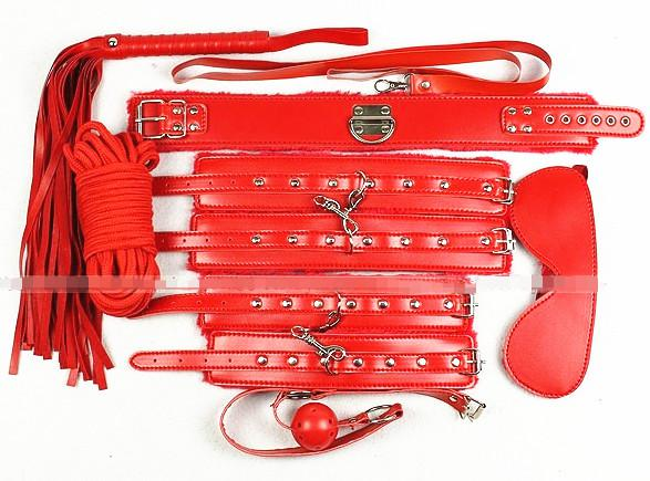 BDSM 7 in 1 Sex Bondage Kit Ball Gags Collar Foot Hand Cuffs Mask Body Restraints Rope Whip Red Sex Toys Adult Products