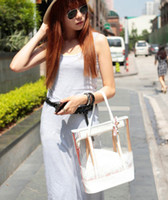 Wholesale Yellow Jelly Bags - Bag in Bag Womens Sweet Jelly Clear Lace Transparent Handbag Hobo Tote Shoulder Bags 4 colors for choose