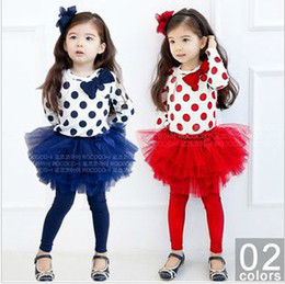 Wholesale Girls Culottes Spring Autumn - Baby girls polka dots suits Kids Princess Dress set Children outfits suits 2pcs (culottes+bottoming) super beautiful baby girls' clothes