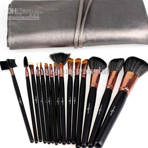 15 st / set makeup borstar kit nylonull trähandtag kvalitet professionella kosmetiska borstar set svart