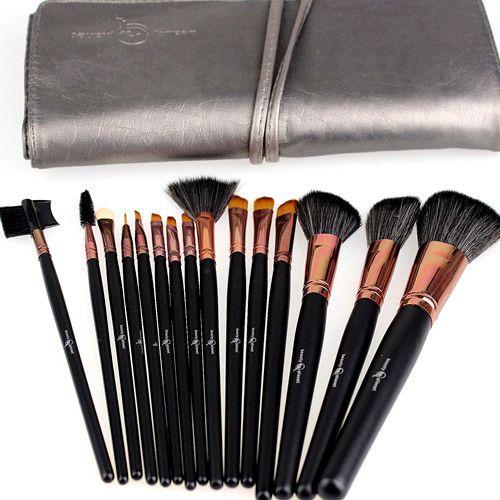 15 stks / set make-up borstels kit nylon wollen hout handvat kwaliteit professionele cosmetische borstels set zwart