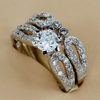 Wholesale Fashion Casual White Cubic Zirconia S Silver Couple Rings R0605 sz