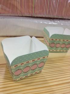 Cuisson Cuisson Britannique Retro / Color Stripe / Classique Blue Dot Dace Square Cake Cake Cakecup Cake Cup Muffin Coupe