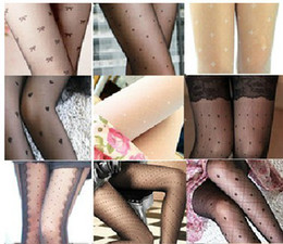 Wholesale Women Tattoo Socks - Hot Sale Summer socks thin jacquard pantyhose stockings tattoo bottoming sex socks mix order Free Shipping