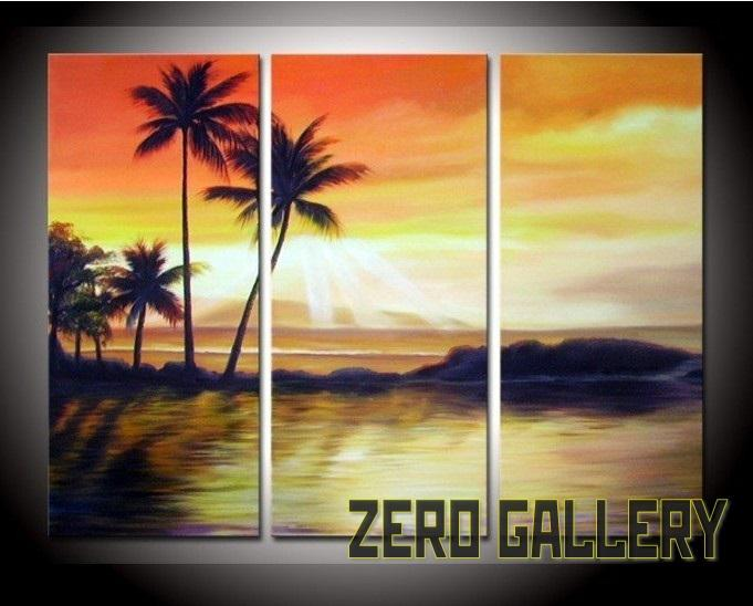 2018 Hand Painte Sunrise Sunset Beach Palm Tree Seascape Oil Painting Motel Home Decoration 3 Panel Wall Art Posters And Prints Peinture 30150 From Xmshenyx