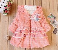 Wholesale Thick Fur Pearl Jacket - Wholesale - Winter New Children's clothing baby girl's coats thick bowknot fur pearl jackets plush lace jacket Hooded Jacket 4p l