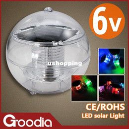 Wholesale 2w Water - 2W New Solar Garden Color Change Water Floating Waterproof ip 65 LED solar light,CE,RoHS,6V,use 68h, free shipment