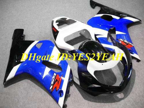 Kit de carenagem para SUZUKI GSXR600 750 01 02 03 GSXR 600 GSXR750 K1 2001 2002 2003 Branco azul Carenagem BODYWORK + brindes