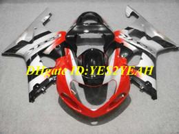 carenado gsxr rojo negro plata Rebajas Kit de carenado de motocicleta para SUZUKI GSXR1000 K2 00 01 02 GSXR 1000 2000 2001 2002 Nuevo Juego de carenados de plata rojo negro + Regalos SM07