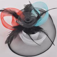 senhoras preto vestido chapéus venda por atacado-Nupcial chapéus preto azul vermelho compensação noite evento chapéus em estoque atacado frete grátis artesanal hairpieces fancy dress acessórios para senhora