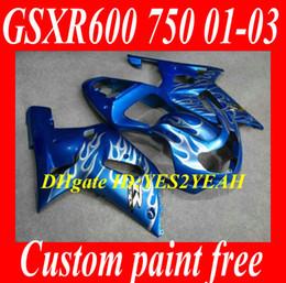 Wholesale Silver Blue Gsxr Fairings - Motorcycle Fairing kit for SUZUKI GSXR600 750 01 02 03 GSXR600 GSXR750 K1 2001 2002 2003 GSXR 600 silver flames blue fairings SX31