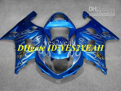 Kit carénage de moto pour SUZUKI GSXR600 750 01 02 03 GSXR600 GSXR750 K1 2001 2002 2003 GSXR 600 flammes argentées Carrosserie Carénage SX31