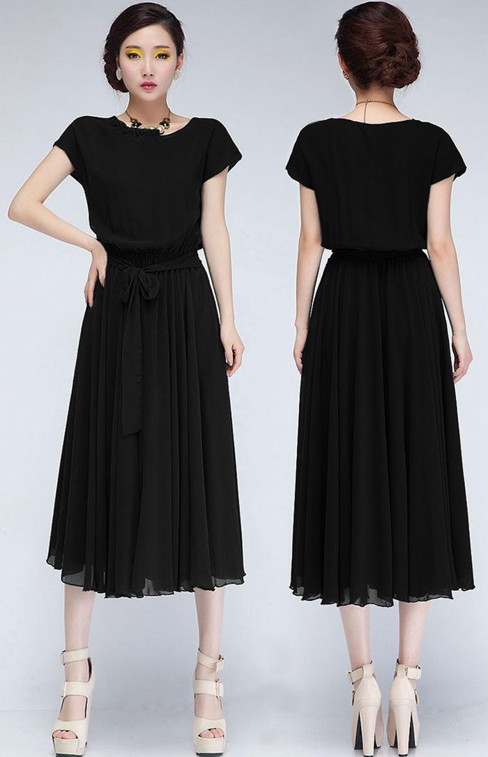 Abiti estivi 2015 Nuove donne eleganti abito manica corta in chiffon Plus Size metà polpaccio Ball Gown Abito nero lungo con cintura