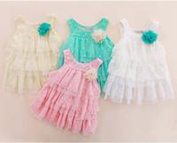 gestufte hosenträgerkleider großhandel-Hosenträger Kleid Kinder tragen Mädchen niedliche Spitzenkleider geschichteten Kleid Mode Prinzessin Kleider Baby Sommerkleid Tiered Kleider Kinder Kleidung