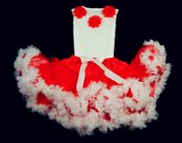 Wholesale Pettiskirt Fluffy Dress Flower - Children christmas petti tutu dress Red white fluffy chiffon pettiskirt set flower top+pettiskirts Free shipping