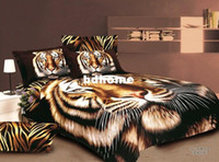 Wholesale Duvet Tiger Queen - Special offer free shipping 3D export trade Lions Tiger Leopard bedding set, cotton Queen King