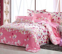 Wholesale Queen Size Pink Comforter - Free Shipping 4 pieces set 100%cotton bedding set king size flat sheet duvet cover pink hot sale