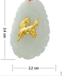 Wholesale Jade Horses - fashion natural white jade inlay yellow gold horse pendant necklace