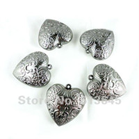 Wholesale Heart Shape Pendant Scarf - 12PCS LOT, Wholesale Shiny Silver Color CCB Heart Shape Pendants For DIY Necklace Scarf, Jewellery Accessories Findings, AC-0033