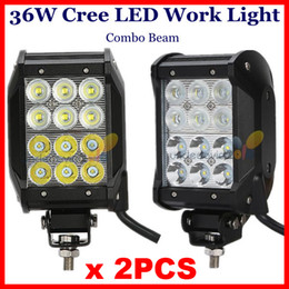 """Wholesale Light Bars For Quads - 2pcs 4"""" 36W CREE 12-LED*(3W) Work Light Bar Spot Flood Combo Beam 9-32V 3200lm Quad 4 Rows For SUV ATV 4WD 4x4 Jeep Boat Driving High Power"""