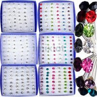 Jewelry Lot 288pcs(6boxes) Clear Crystal Earring Studs 1 Box...
