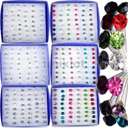 Wholesale wholesale crystal boxes - Jewelry Lot 288pcs(6boxes) Clear Crystal Earring Studs 1 Box Allergy mix colors Free Ship [E179 E180*1]