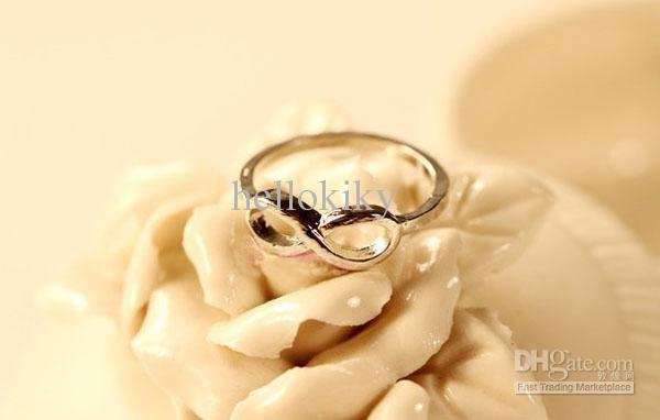 10 stks mode zilveren tone Infinity vinger ringen # 23333