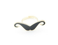 Wholesale Enamel Mustache - 10PCS Fashion Black Enamel Mustache Finger Rings #23335