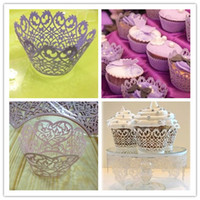 Wholesale Wholesale Pink Cupcake Boxes - Hot selling Baking Cupcake wrapper purple white pink surrounding edge cupcakes