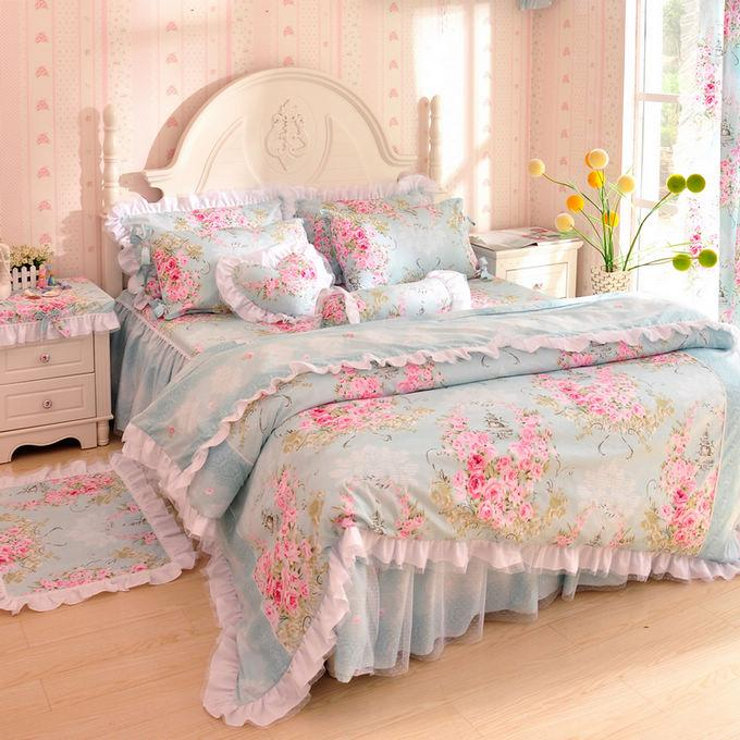 Unique Bedroom Sets: Korean Bedding 100% Laciness Cotton Set Unique Bedroom