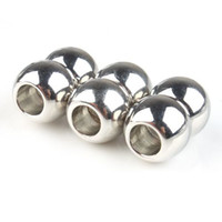 Wholesale Magnetic Ball Bracelets - Smooth Round Ball Strong Magnetic Clasps Leather Cord End Bracelet Jewellery Findings