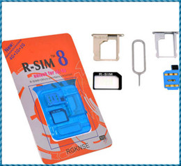 Wholesale R Sim8 - R-SIM 8 RSIM8 R-SIM8 For Unlock iphone 5 iphone5 Dual Sim Card Blue Classic iphone 4S iOS 6.1.3 6.1.2 GSM CDMA WCDMA Plug and play Free Ship