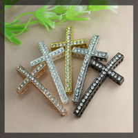 Wholesale Diy Sideways Cross - 40pcs lot five colos Crystal Rhinestones SideWays charm cross Connector Beads making Bracelet Findings For DIY Jewelry